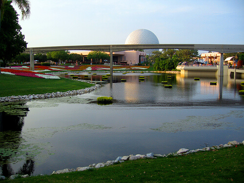 Spaceship Earth and Epcot waterway