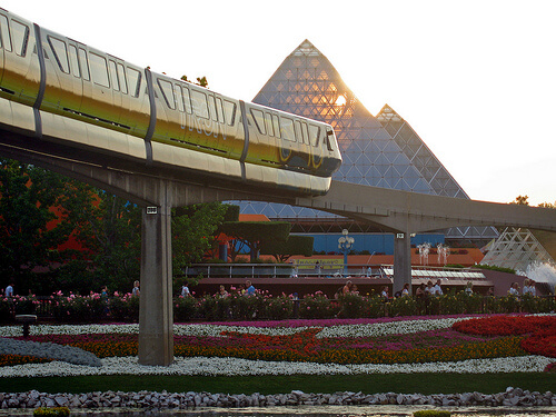 Tronorail monorail in front of an Imagination sunset