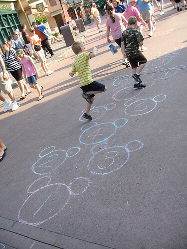 Mickey hopscotch in the United Kingdom pavilion