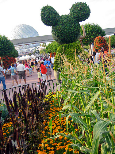 Mickey Mouse topiary with Spaceship Earth