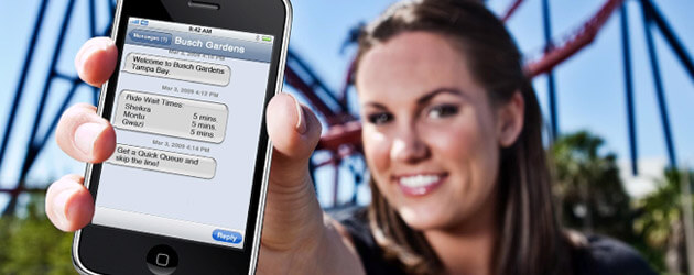 Busch Gardens Tampa Bay offers deals and trivia via in-park text messages