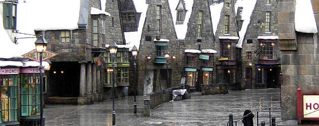 A detailed view into Hogsmeade Village at Universal's Wizarding World of Harry Potter