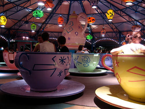 Mad Tea Party at night