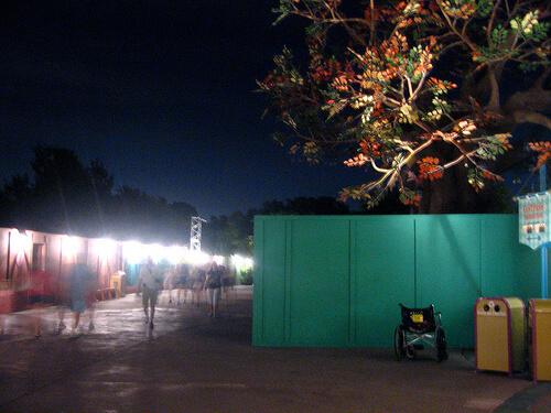 Fantasyland construction wall light up at night