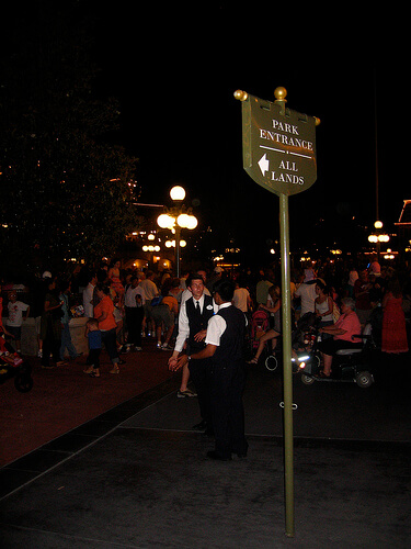 Routing guests backstage behind Main Street