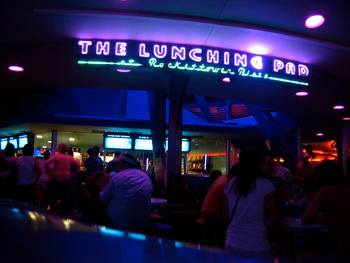 The Lunching Pad in Tomorrowland at night