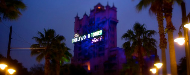 Tower of terror disney world at night