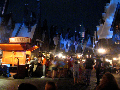 Hogsmeade Village at night in the Wizarding World of Harry Potter