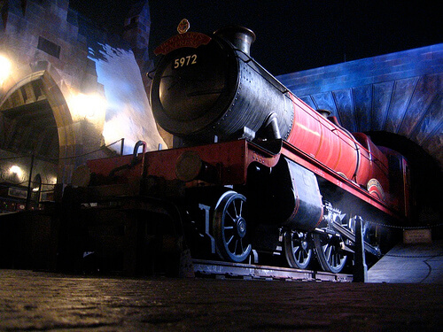 Hogwarts Express at night in the Wizarding World of Harry Potter