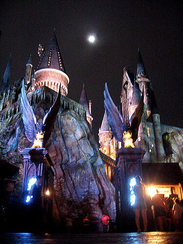Hogwarts Castle at night in the Wizarding World of Harry Potter