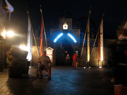 Dragon Challenge entrance at night in the Wizarding World of Harry Potter