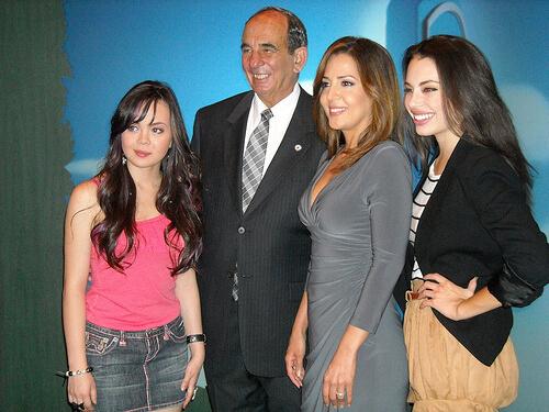 Disney Channel Camp Rock 2 stars Maria Canals, Chloe Bridges, Anna Maria Perez de Tagle with Mr. Montebello