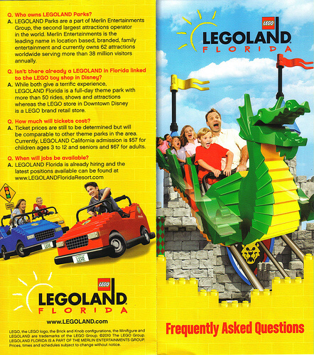 LEGOLAND Florida FAQ brochure