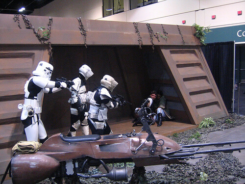 Troopers take on Han Solo protecting Leia