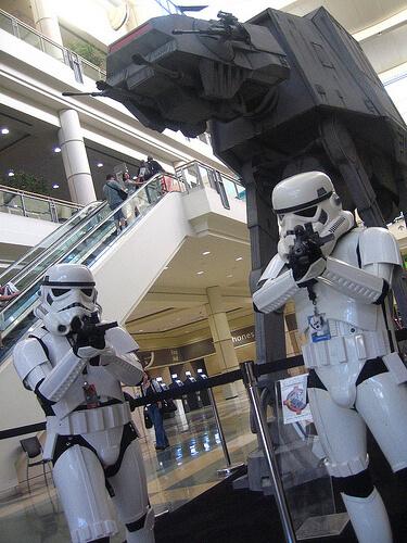 Stormtroopers guard an AT-AT