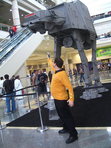 Star Trek guy battles an AT-AT
