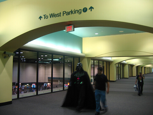 Darth Vader returns from the parking lot
