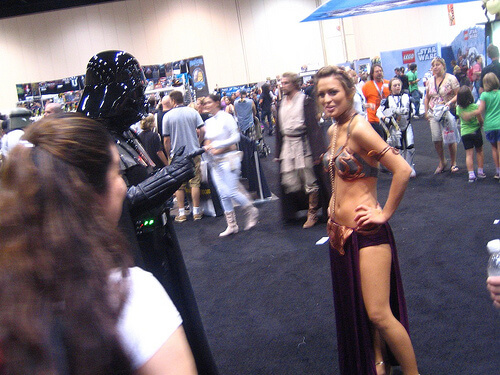 Slave Leia faces off against Darth Vader