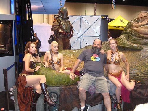 Steampunk Leia and Boba Fett with Slave Leias