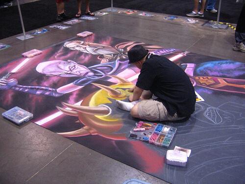 Chalk art on the floor