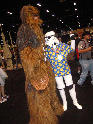 Chewbacca with tourist Stormtrooper