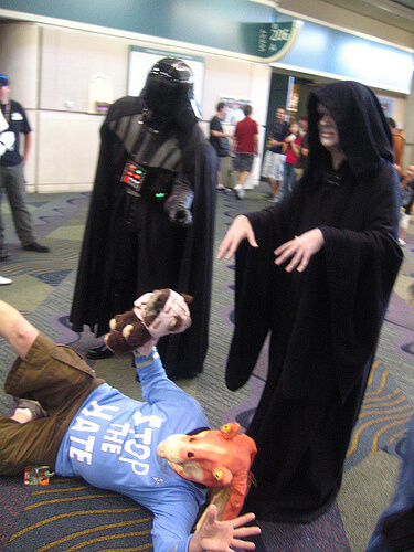 Emperor Palpatine and Darth Vader use the Force on Jar Jar