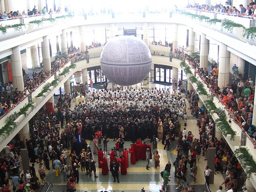 Huge gathering of Star Wars costumes under the Death Star