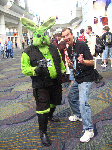 Green Pink Bunny with blaster