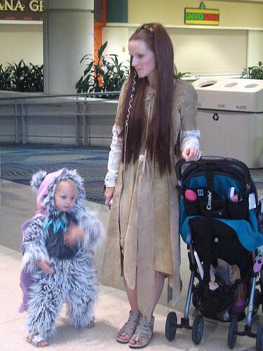 Mom and Ewok daughter
