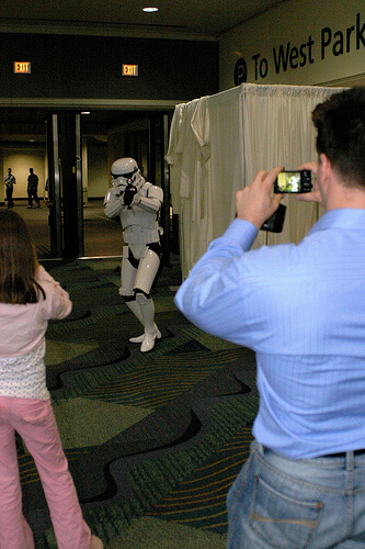 Storm Trooper aims at the camera
