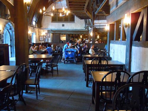 Nearly empty Three Broomsticks restaurant