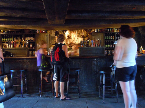 No line for Butterbeer in the Hog's Head Pub