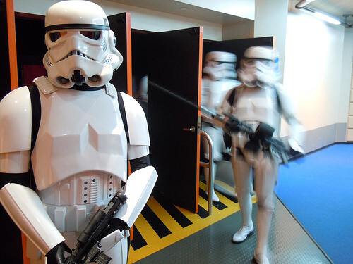 Stormtroopers exit Star Tours for the final time