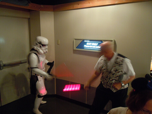 Cast member duels with a Stormtrooper