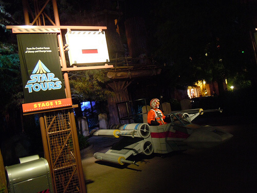 X-Wing and Rebel pilot outside Star Tours