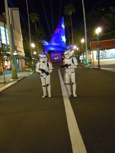 Stormtroopers in front of the Sorcerer Mickey hat