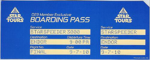 Star Tours D23 Exclusive Final Flight Boarding Pass