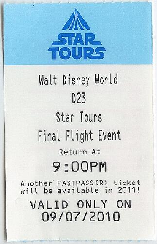 Special Star Tours Final Flight Fastpass