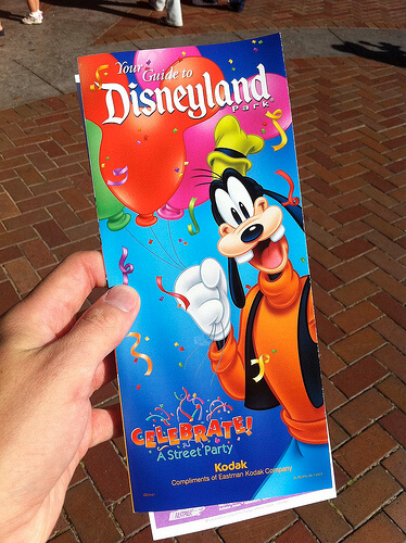 Colorful Disneyland park map with Goofy