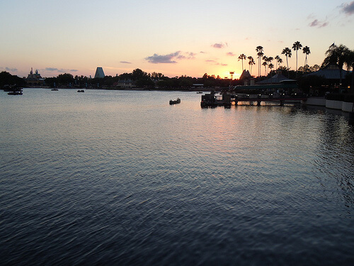 Sunset over World Showcase Lagoon from La Cantina and La Cantina de San Angel