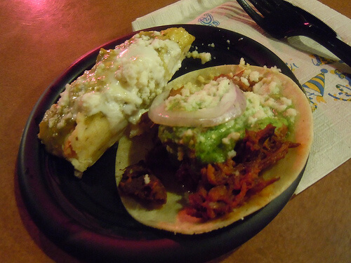 Mexico - Tamal de Pollo and Taco de Chilorio