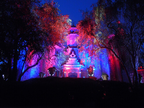 Haunted Mansion lit for Halloween
