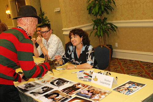 Heather Langenkamp (Nightmare on Elm Street) meets costumed Freddy Krueger