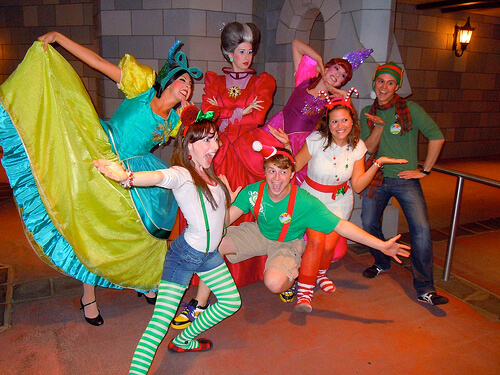 Cinderella's family and excited party attendees (dressed as elves!)