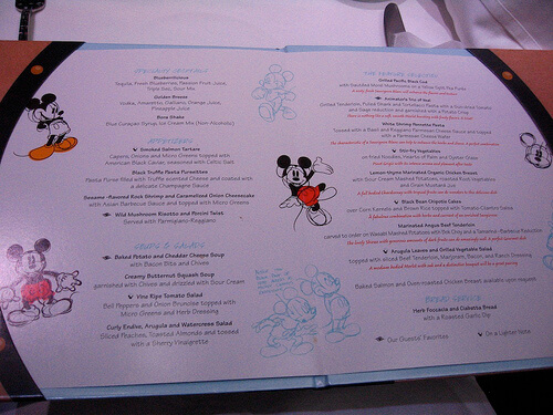 Menu - Animator's Palate, Disney Dream