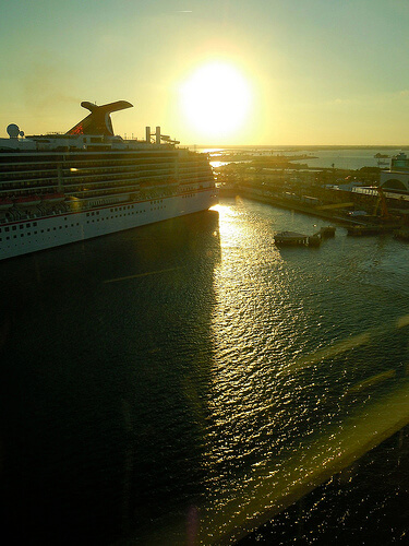 Sunset with ship - Disney Dream