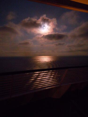 Long exposure moon over the ocean - Disney Dream