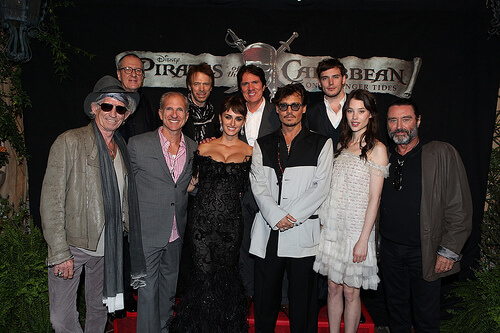 Keith Richards; Geoffrey Rush; John DeLuca; Jerry Bruckheimer; Penelope Cruz; Rob Marshall; Johnny Depp; Sam Claflin; Astrid Berges-Frisbey; Ian McShane