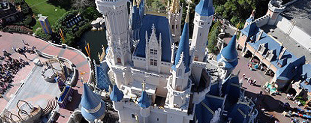 Rare Tinker Bell's-eye view of Disney World shown in Cinderella Castle crane photos, looking into New Fantasyland and beyond