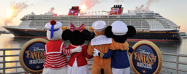 Disney Fantasy cruise ship arrives in Port Canaveral, Florida to prepare for maiden voyage on March 31
